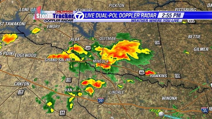 Looking at these storms using the New StormTracker 7 Dual Polarization Radar. Much more detail in the storms.